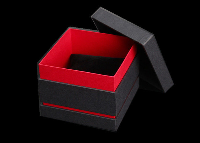 Black & Red Paper Watch Box Cardboard Covered Gift Packaging Custom Logo