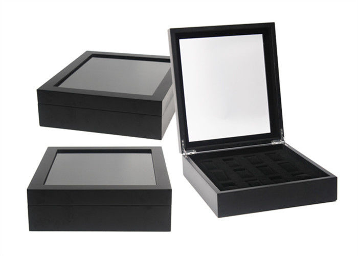 Black Square Watch Storage Box Luxury Waterproof Velvet 12 Slots 330 X 200 X 90mm