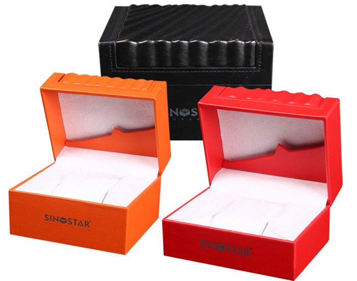 High Glossy Orange PU Leather Watch Box Custom LOGO Printing Environmentally Friendly