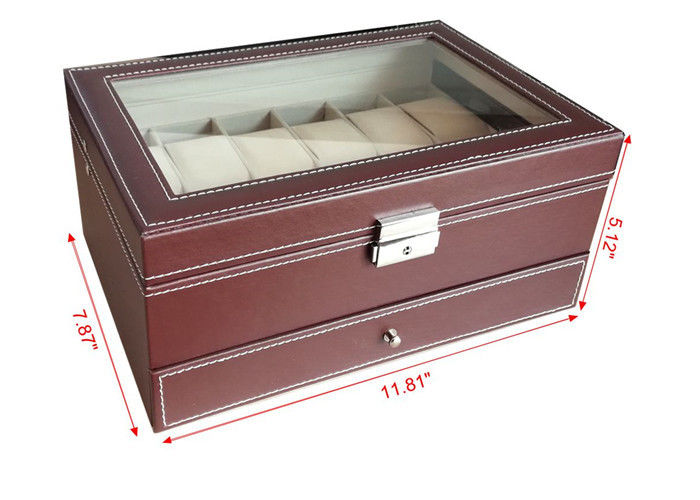 Handmade Mens Watch Jewelry Box , Brown12 Slots Wooden Watch Storage Case
